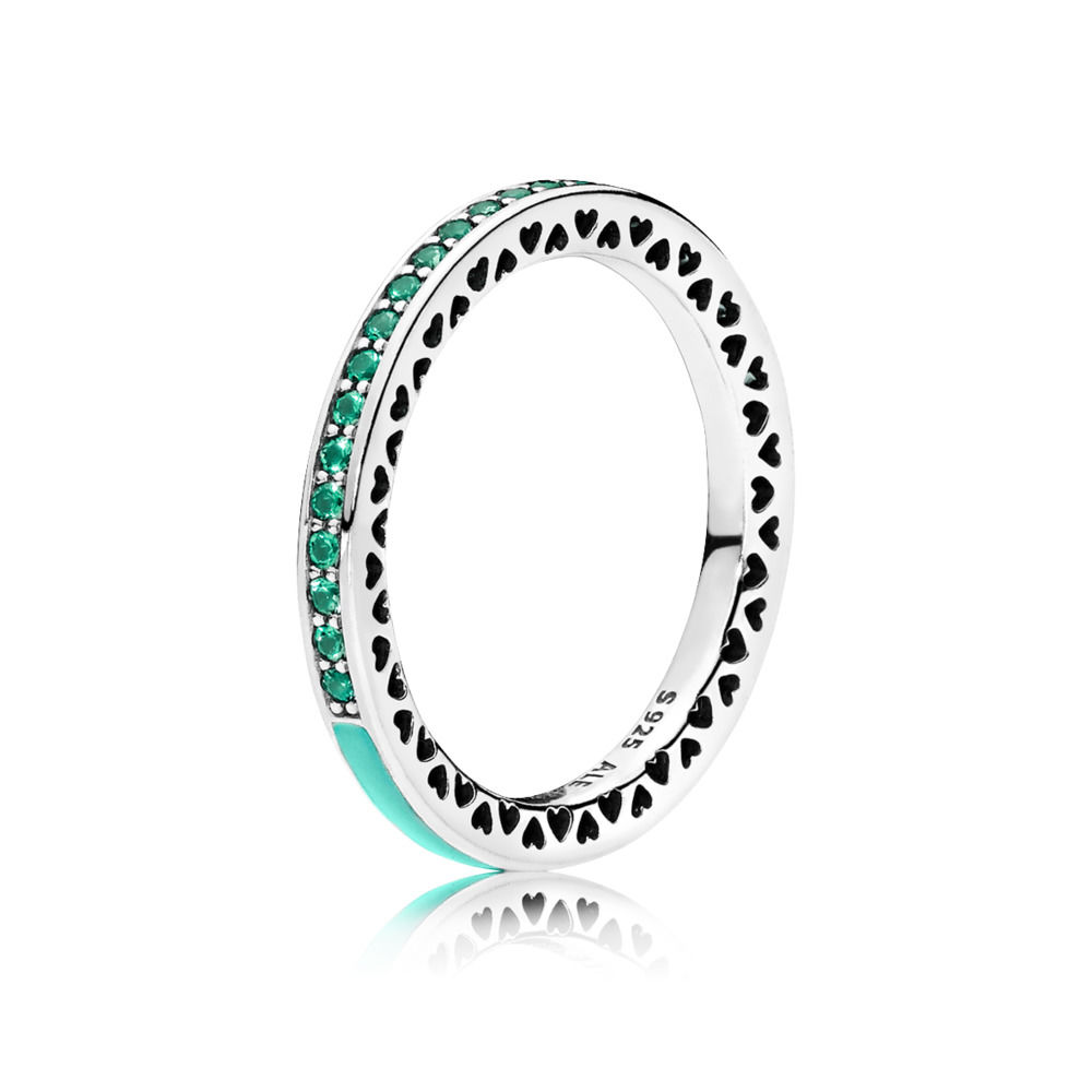 Pandora Bijoux Mint Green Shining Heart Bagues
