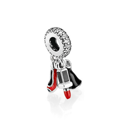 Pandora Bijoux Dangle Charm Glamour Trio, Mixed Enamel & Clear CZ