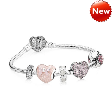 Pandora Bijoux Heart Of The Secret 925 Bracelet Argent Ensembles Cadeaux