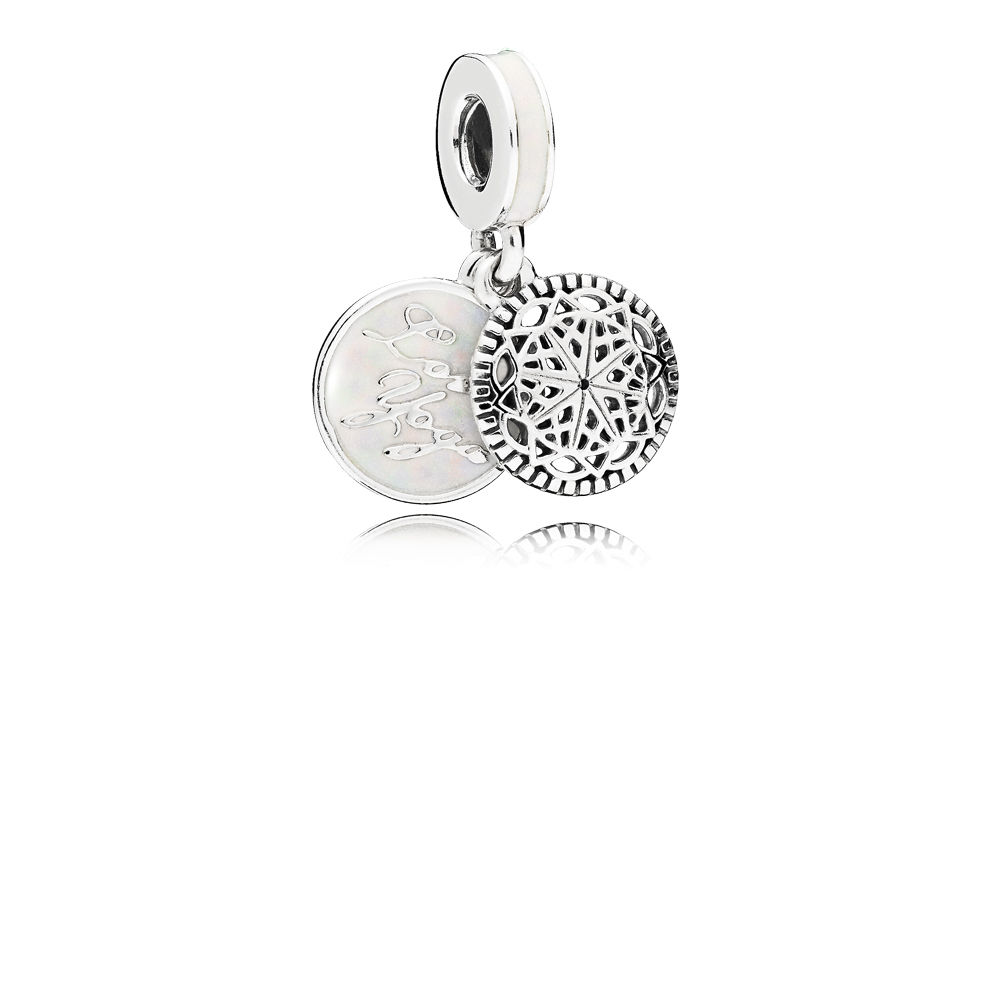 Pandora Bijoux Vente directe d'usine de True Yoga Dangle Charm, Silver Enamel