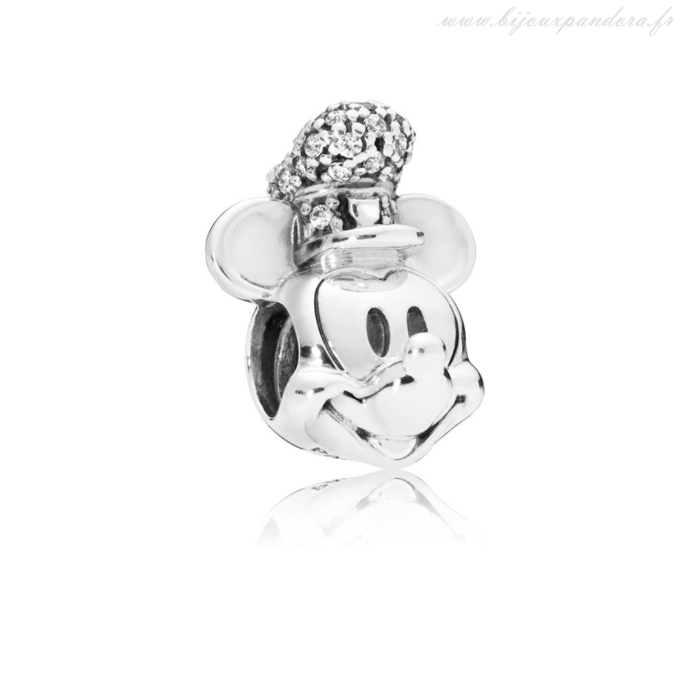 Pandora Bijoux CHARME DISNEY, VERSION PORTRAIT DE MICKEY STEAMBOAT WILLIE SCINTILLANT