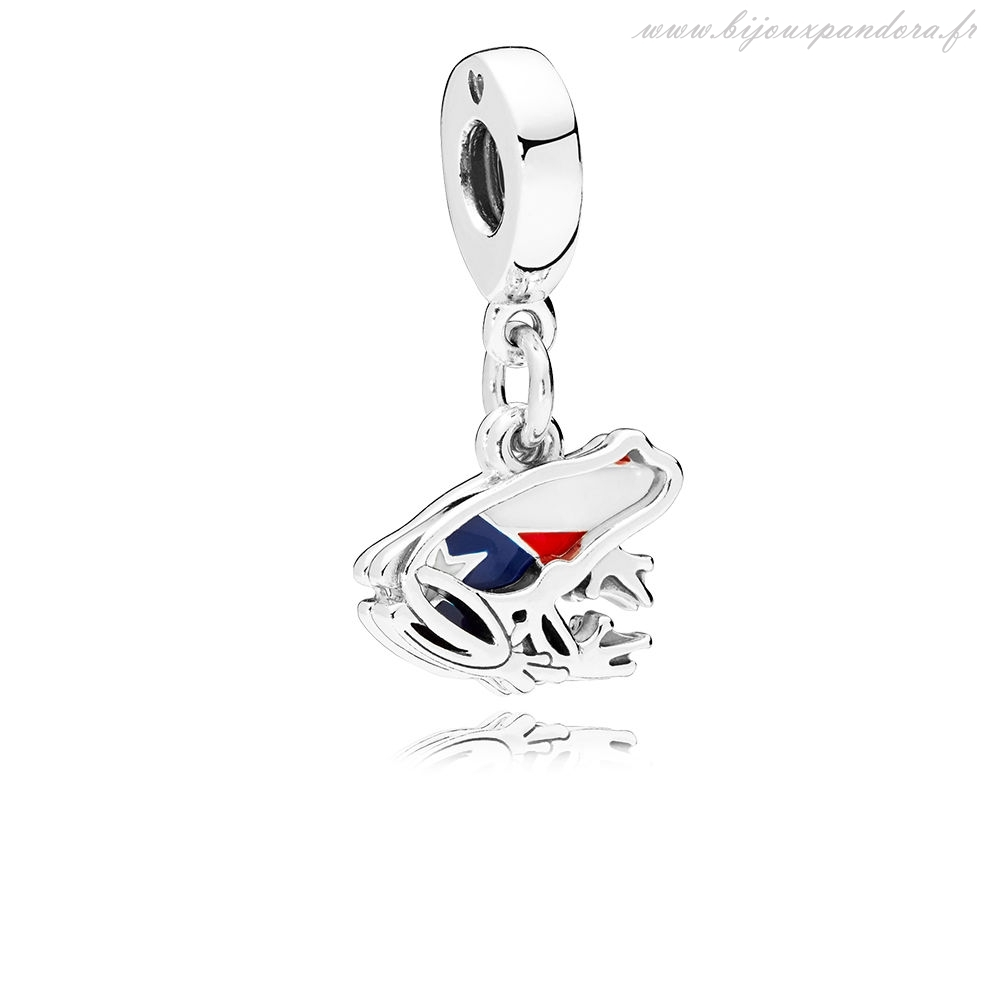 Pandora Bijoux Amour Puerto Rico Dangle Charms Rouge Blanc & Bleu Émail
