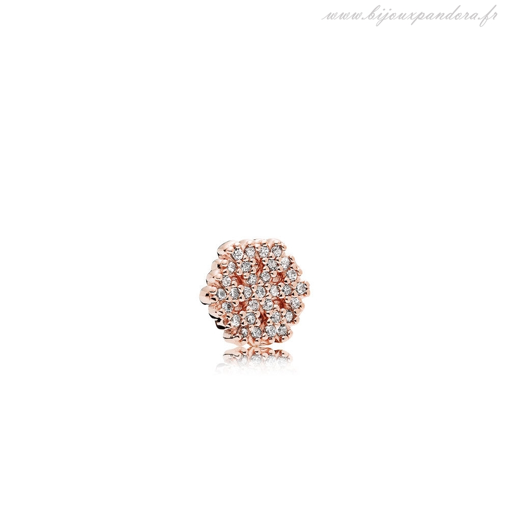 Pandora Bijoux Breloque flocon de neige scintillante Rose Clear CZ