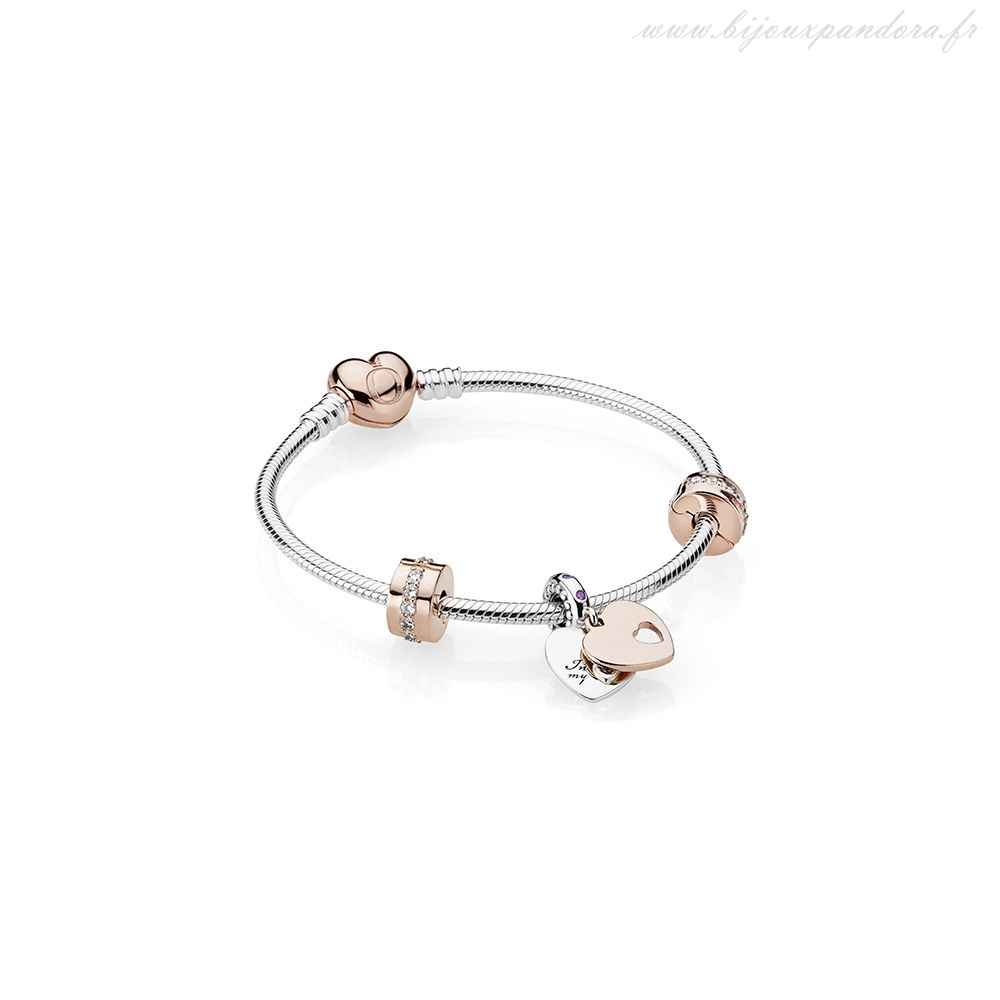 Pandora Bijoux Dans mon Coeur Bracelet Cadeau Ensemble PANDORA Rose Clear CZ and Multi-Colored Cristaux