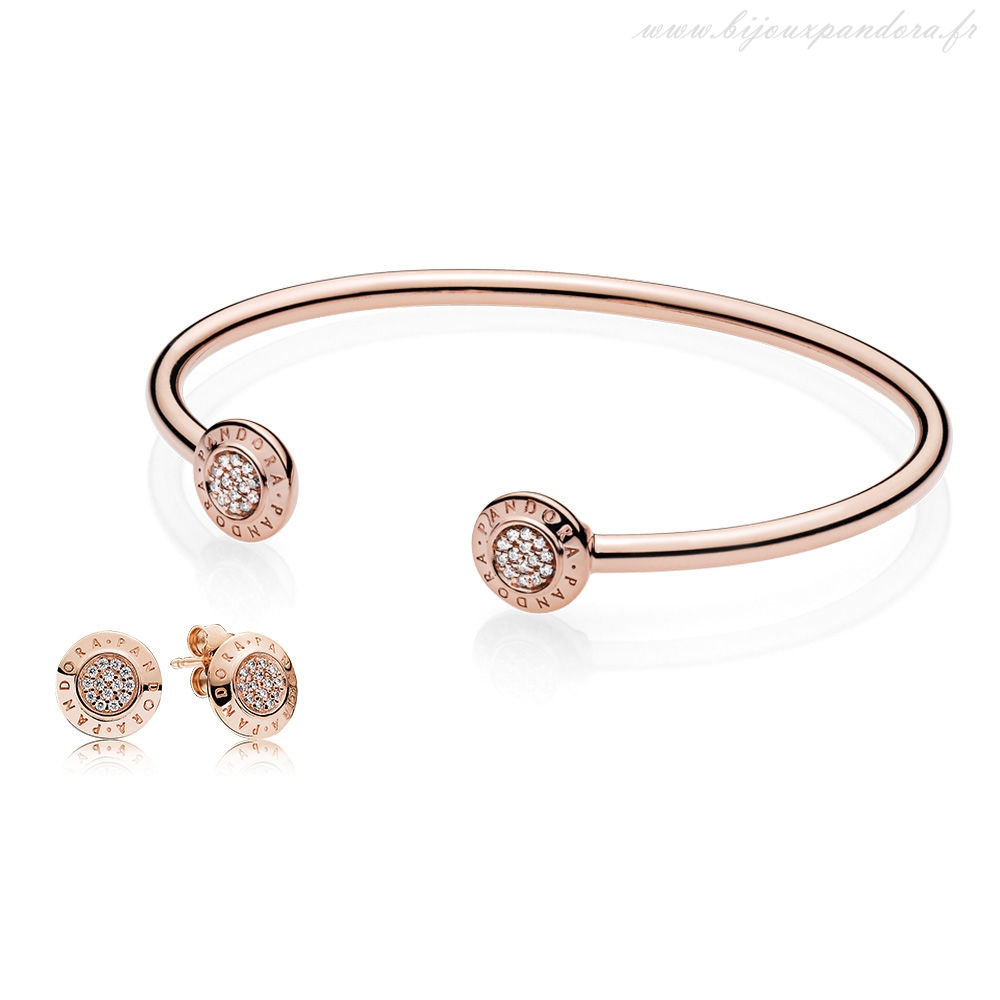 Pandora Bijoux PANDORA Rose SIGNATURE BANGLE AND BOUCLE D'OREILLE CADEAU ENSEMBLE