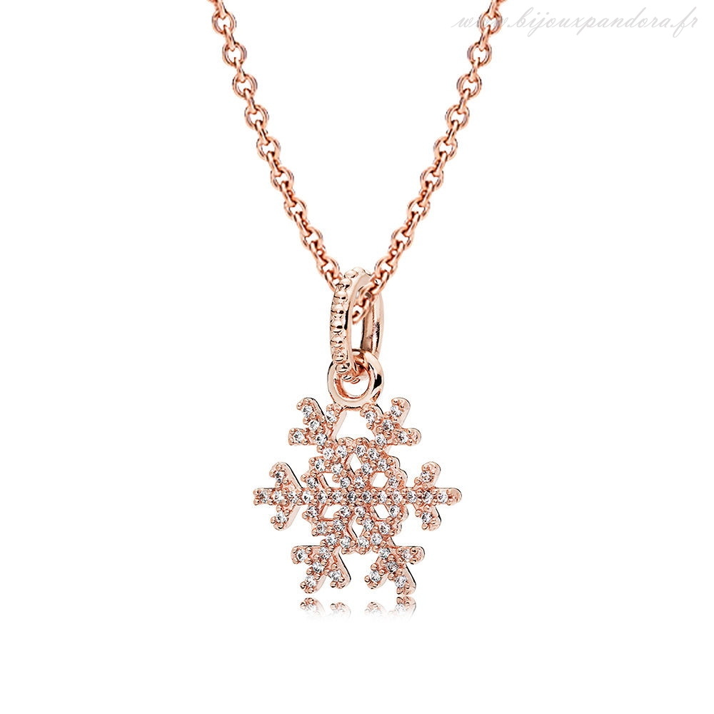 Pandora Bijoux Rose Petillant Flocon de neige Collier Ensemble