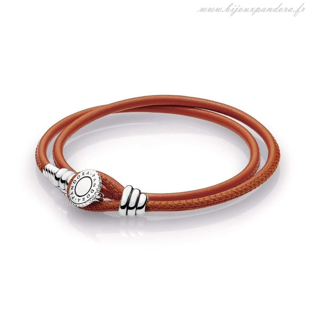 Pandora Bijoux Spicy Orange Double Cuir Bracelet Clear CZ