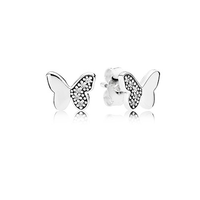 Pandora Bijoux Butterfly silver stud Boucles d'oreilles with clear cubic zirconia