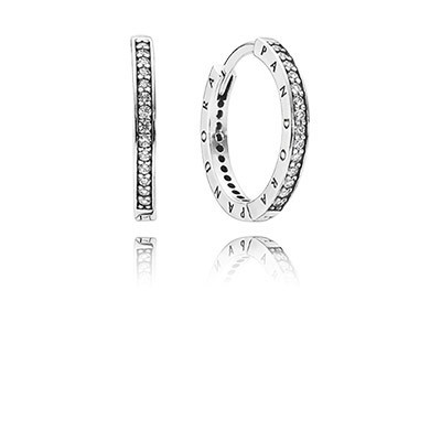 Pandora Bijoux Signature with Clear CZ Hoop Boucles d'oreilles