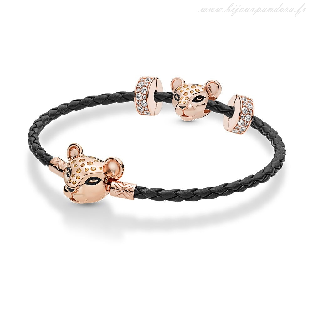 Pandora Bijoux Pandora Rose Leather Lioness Bracelets Ensemble