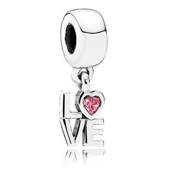 Pandora Bijoux AMOUR Dangle Charm Pink CZ 791253CZS, argent 925