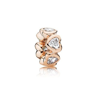 Pandora Bijoux Rose Spacer In My Heart avec Clear CZ Spacer