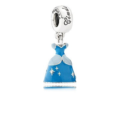 Pandora Bijoux Argent Disney Cinderella Dress Dangle Charm avec email bleu