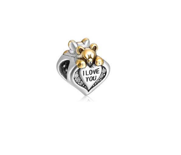 Pandora Bijoux Ours et I Love You Charms Two Tone