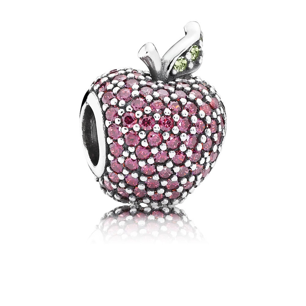 Pandora Bijoux Pomme Pave Silver Charm Avec Fancy Red zircon And Light Crystal Green